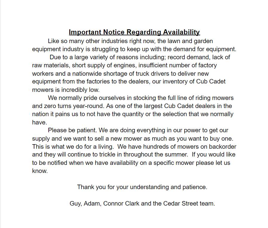 ImportanceNoticeRegardingAvailability